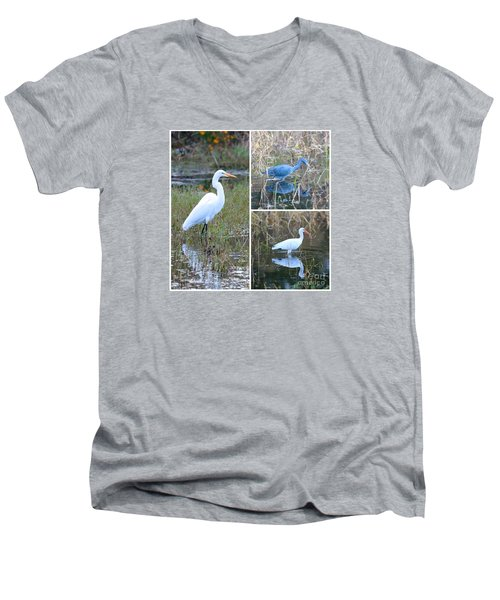 Birds On Pond Collage Men's V-Neck T-Shirt by Carol Groenen