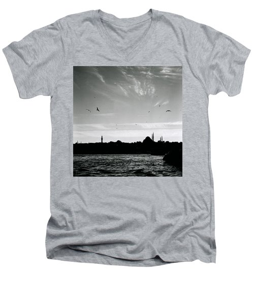 Birds Over The Golden Horn Men's V-Neck T-Shirt