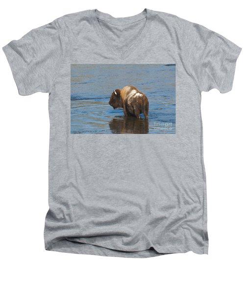 Bison Crossing River Men's V-Neck T-Shirt