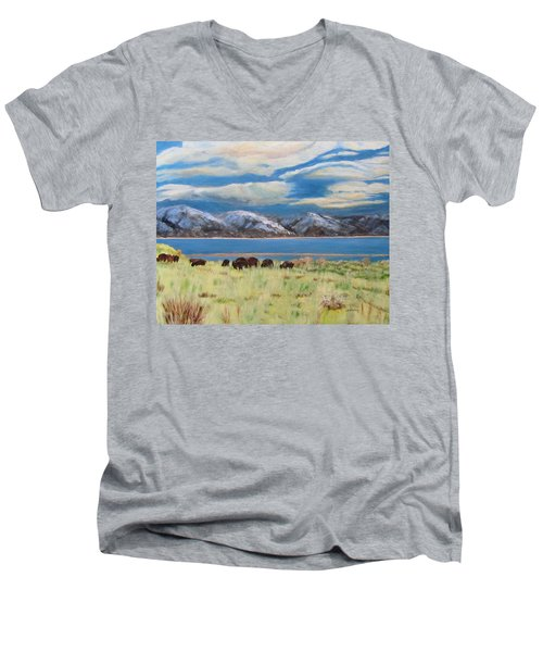 Bison On Antelope Island Men's V-Neck T-Shirt