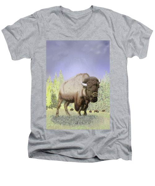 Men's V-Neck T-Shirt featuring the digital art Bison On The Range by Thomas J Herring