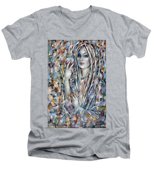 Men's V-Neck T-Shirt featuring the painting Bitter Sweet 270610 by Selena Boron