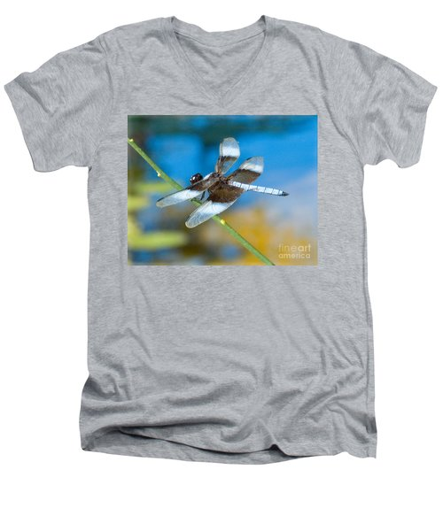 Men's V-Neck T-Shirt featuring the photograph Black And White Dragonfly by Mae Wertz