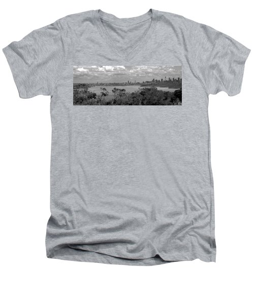 Men's V-Neck T-Shirt featuring the photograph Black And White Sydney by Miroslava Jurcik