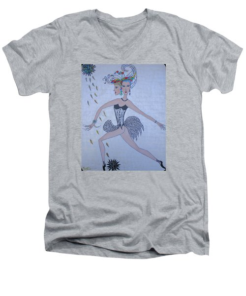 Men's V-Neck T-Shirt featuring the painting Black Dahlia by Marie Schwarzer