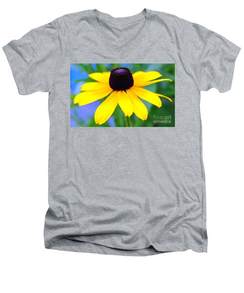 Men's V-Neck T-Shirt featuring the photograph Black Eyed Susan by Judy Palkimas