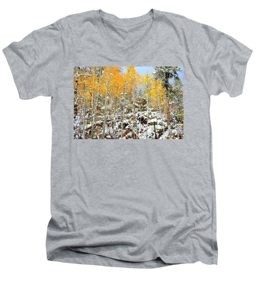 Black Hills Boulders Men's V-Neck T-Shirt by Clarice  Lakota