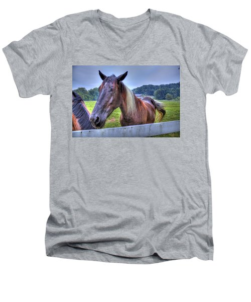 Black Horse At A Fence Men's V-Neck T-Shirt