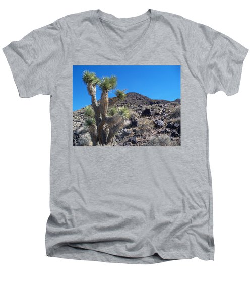 Men's V-Neck T-Shirt featuring the photograph Black Mountain Yucca by Alan Socolik