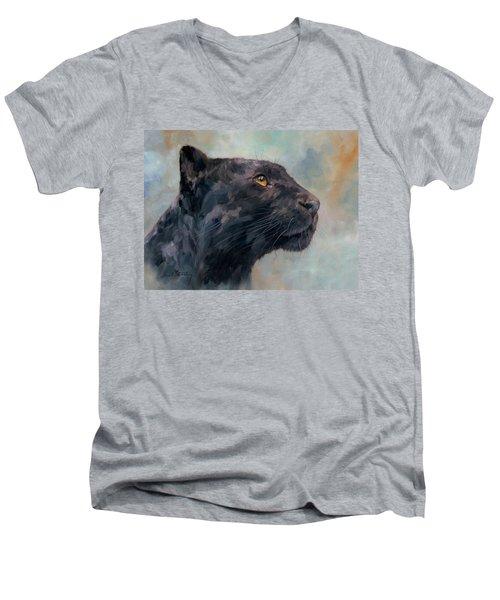 Black Panther Men's V-Neck T-Shirt by David Stribbling