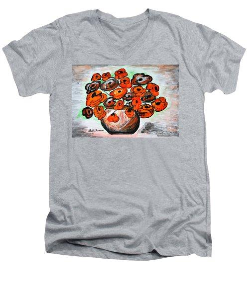 Black Poppies Men's V-Neck T-Shirt