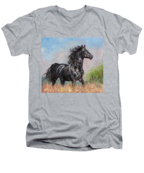 Black Stallion Men's V-Neck T-Shirt by David Stribbling