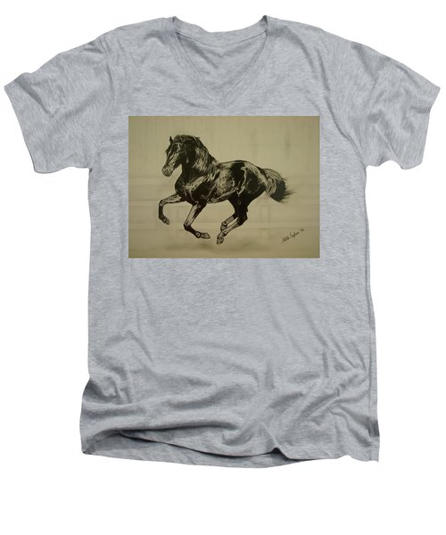 Men's V-Neck T-Shirt featuring the drawing Black Stallion by Melita Safran