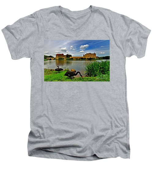 Black Swans At Leeds Castle II Men's V-Neck T-Shirt