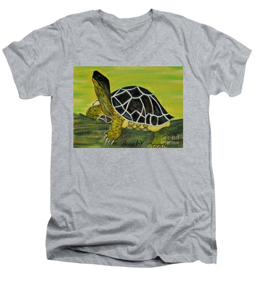 Men's V-Neck T-Shirt featuring the painting Black Turtle. Inspirations Collection. by Oksana Semenchenko