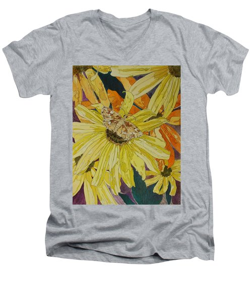 Blackeyed Susans And Butterfly Men's V-Neck T-Shirt
