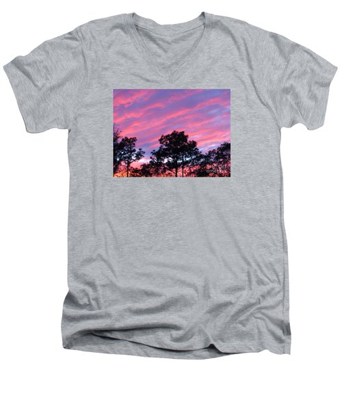 Men's V-Neck T-Shirt featuring the photograph Blazing Pines by Joy Hardee