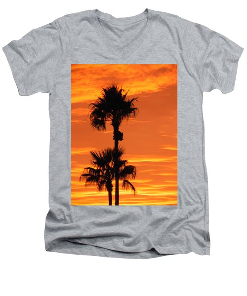Men's V-Neck T-Shirt featuring the photograph Blazing Sunset by Deb Halloran