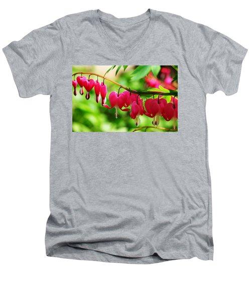 Romantic Bleeding Hearts Men's V-Neck T-Shirt by Debbie Oppermann