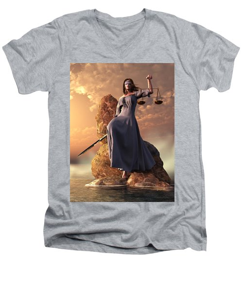 Blind Justice With Scales And Sword Men's V-Neck T-Shirt