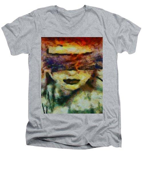 Men's V-Neck T-Shirt featuring the digital art Blinded By Sorrow by Joe Misrasi