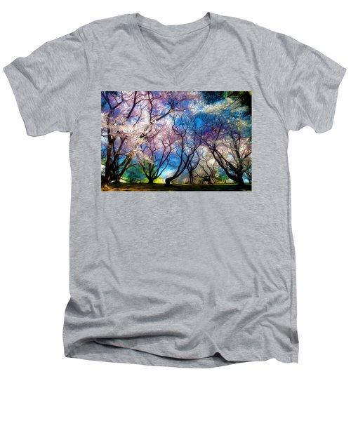 Blossom Cherry Trees Over Spring Sky Men's V-Neck T-Shirt by Lanjee Chee