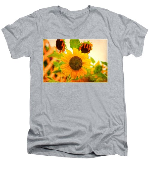 Blossoming Sunflower Beauty Men's V-Neck T-Shirt by Toni Hopper