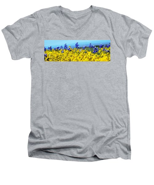 Blue And Yellow Wildflowers Men's V-Neck T-Shirt by Holly Blunkall
