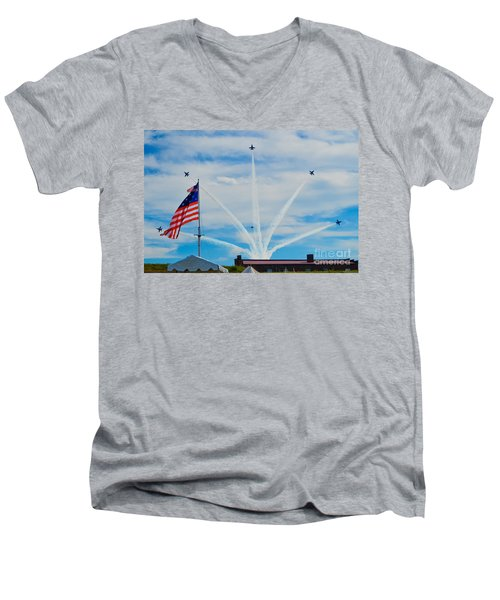 Blue Angels Bomb Burst In Air Over Fort Mchenry Finale Men's V-Neck T-Shirt by Jeff at JSJ Photography