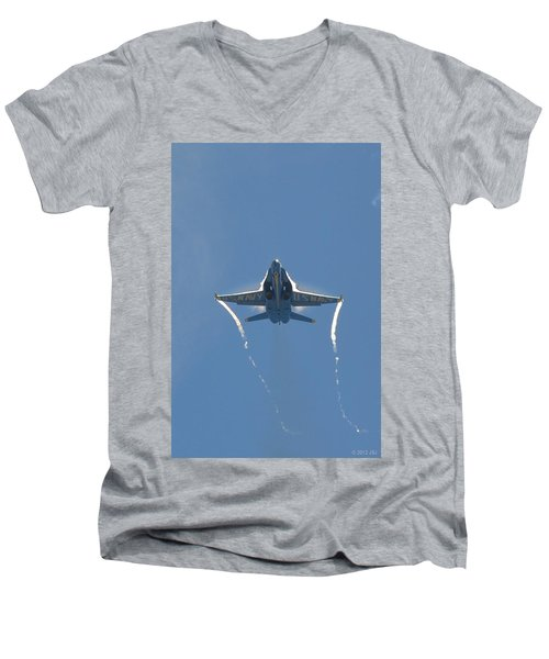 Men's V-Neck T-Shirt featuring the photograph Blue Angels Ghost Appears Head-on Over Pensacola Beach by Jeff at JSJ Photography