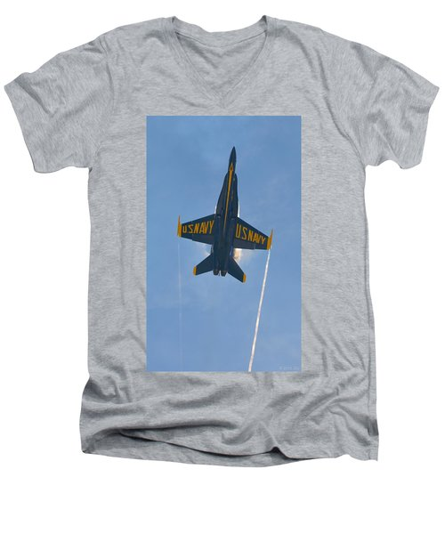 Men's V-Neck T-Shirt featuring the photograph Blue Angels Ghost Appears Over Pensacola Beach by Jeff at JSJ Photography