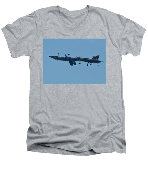 Men's V-Neck T-Shirt featuring the photograph Blue Angels Practice Up And Down With Low And Slow by Jeff at JSJ Photography