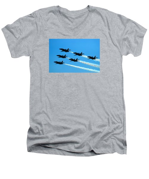Blue Angels The Need For Speed Men's V-Neck T-Shirt by James Kirkikis