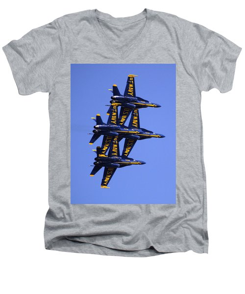 Blue Angels II Men's V-Neck T-Shirt by Bill Gallagher