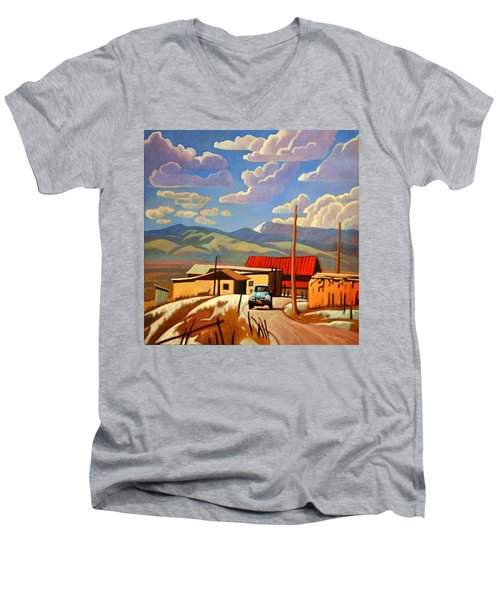Men's V-Neck T-Shirt featuring the painting Blue Apache by Art James West