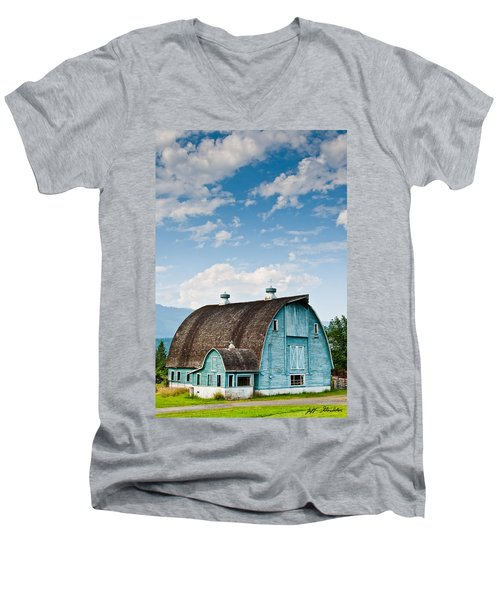 Blue Barn In The Stillaguamish Valley Men's V-Neck T-Shirt by Jeff Goulden