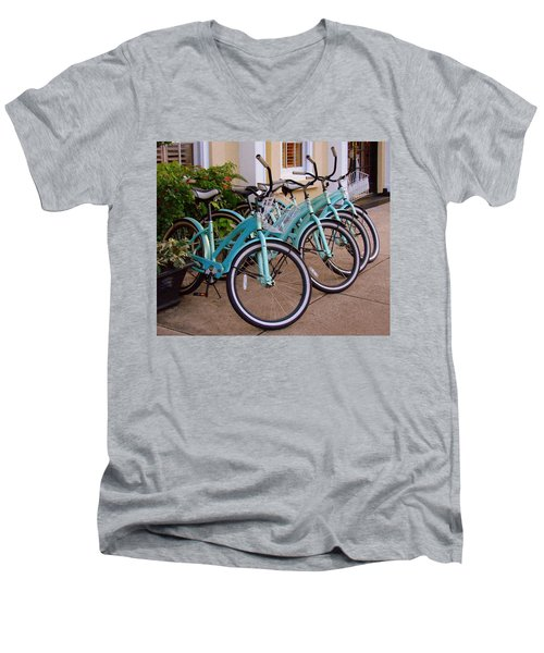 Men's V-Neck T-Shirt featuring the photograph Blue Bikes by Rodney Lee Williams