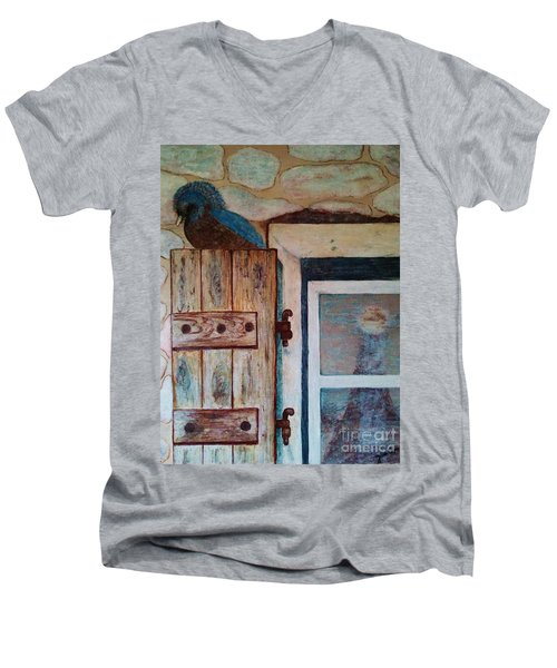 Men's V-Neck T-Shirt featuring the painting Blue Bird by Jasna Gopic