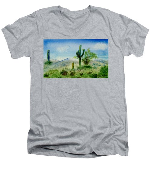 Men's V-Neck T-Shirt featuring the painting Blue Cactus by Jamie Frier