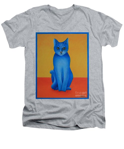 Men's V-Neck T-Shirt featuring the painting Blue Cat by Pamela Clements