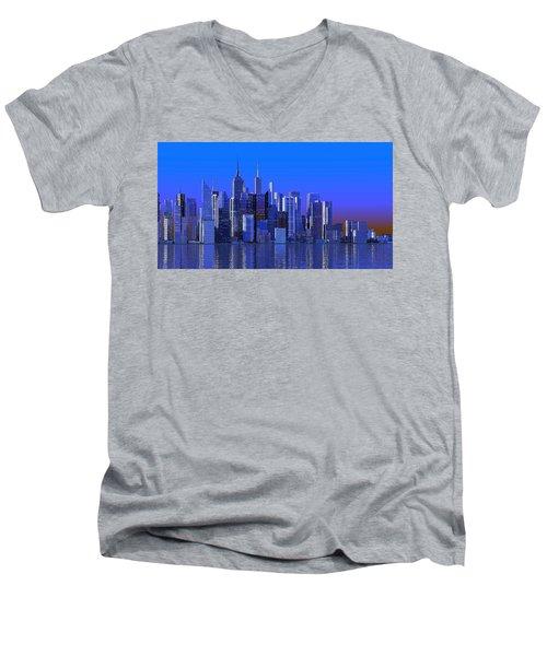 Chicago Blue City Men's V-Neck T-Shirt