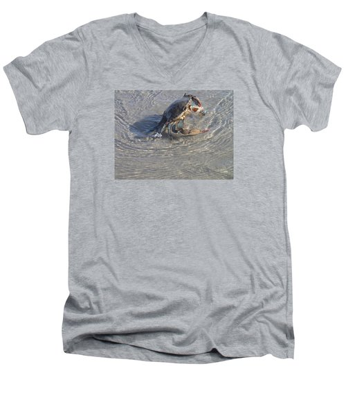 Men's V-Neck T-Shirt featuring the photograph Blue Crab Chillin by Robert Nickologianis