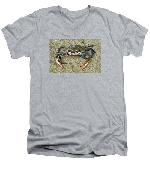 Blue Crab Confrontation Men's V-Neck T-Shirt by Sandi OReilly