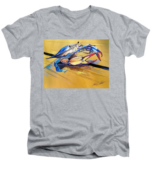 Blue Crabbie  Men's V-Neck T-Shirt