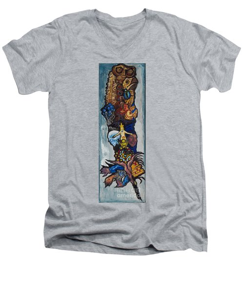 Blue Crow Feather- Crow Series Men's V-Neck T-Shirt