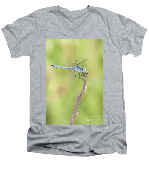 Men's V-Neck T-Shirt featuring the photograph Blue Dasher by Bryan Keil