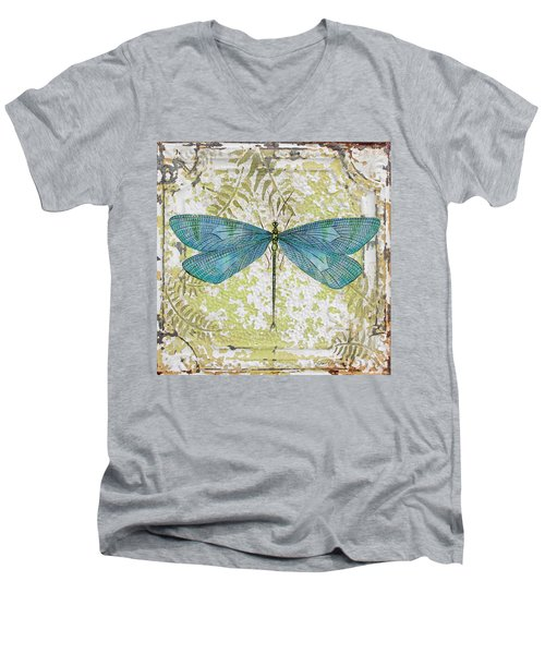 Blue Dragonfly On Vintage Tin Men's V-Neck T-Shirt by Jean Plout