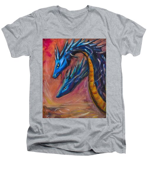 Men's V-Neck T-Shirt featuring the painting Blue Dragons by Yulia Kazansky