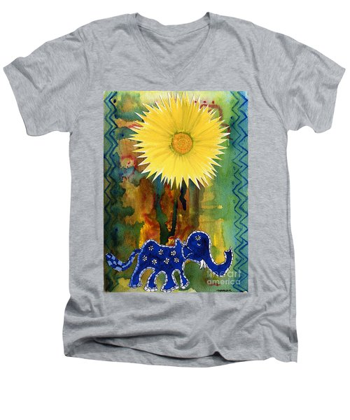 Blue Elephant In The Rainforest Men's V-Neck T-Shirt by Mukta Gupta