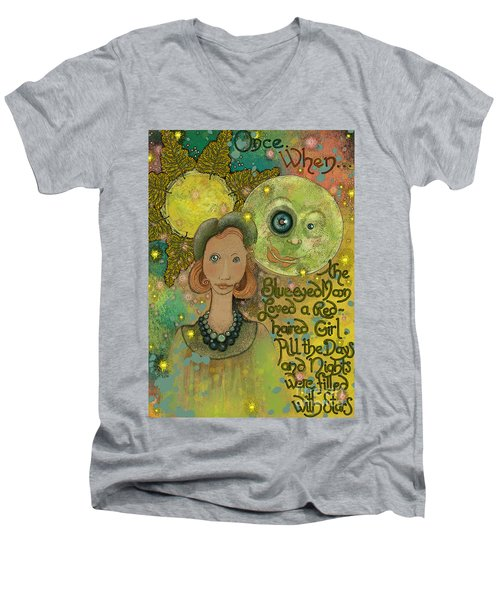 Men's V-Neck T-Shirt featuring the painting Blue-eyed Moon by Carol Jacobs